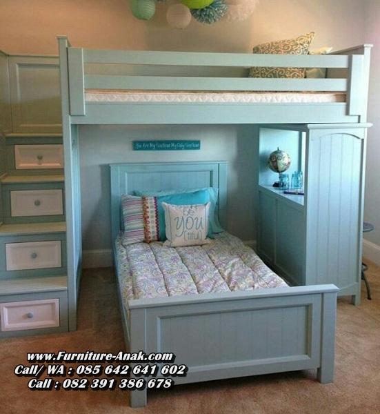 Tempat Tidur Tingkat Kayu Minimalis Warna Biru