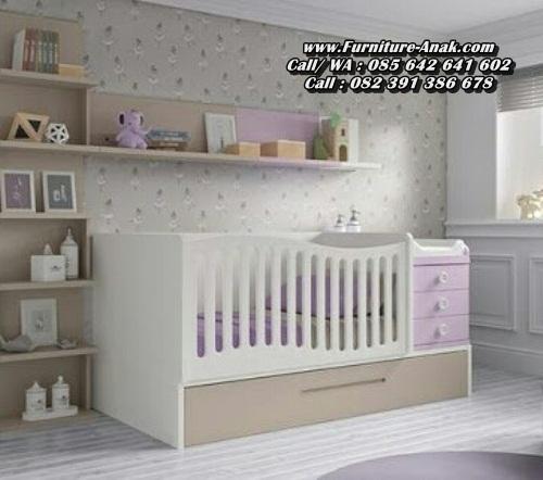 Tempat Tidur Bayi Kayu Modern Putih