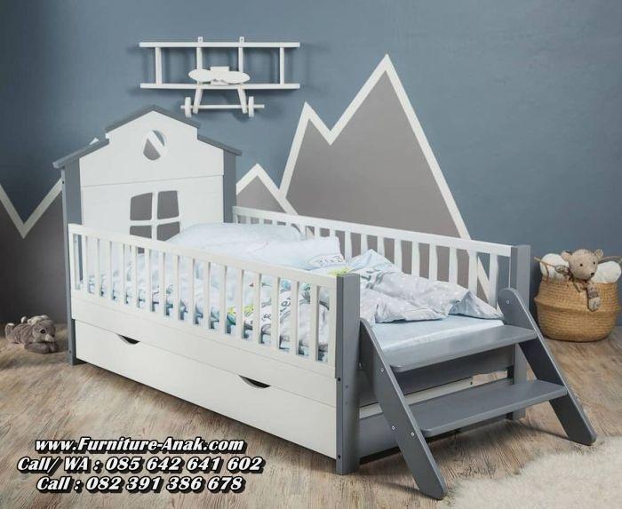 Tempat Tidur Anak Kayu Model Rumah Sorong